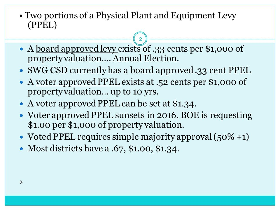 Two portions of a Physical Plant and Equipment Levy (PPEL) A board approved levy exists of.33 cents per $1,000 of property valuation….