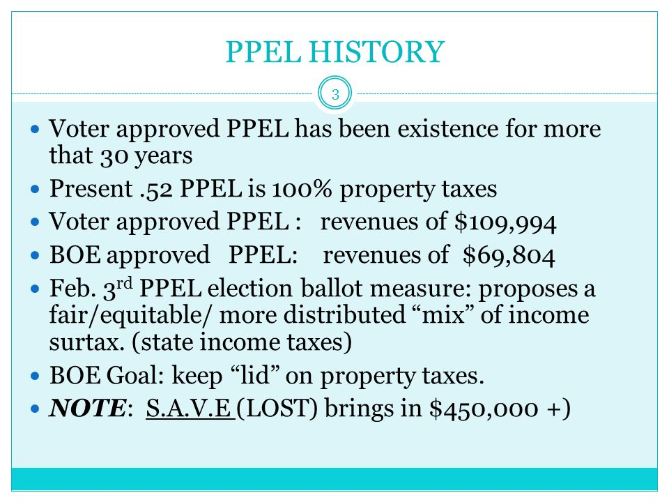 PPEL Renewal ELECTION : FEB.3rd 4 Proposed PPEL rate: $1.00 per $1,000 of tax valuations.