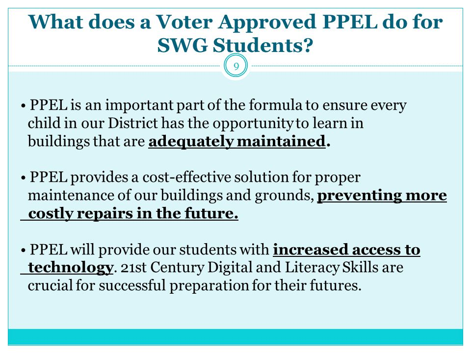 What does a Voter Approved PPEL do for SWG Students.