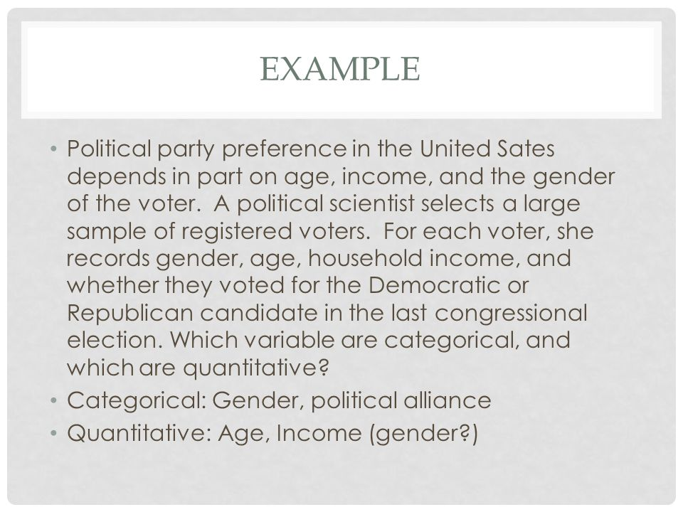 EXAMPLE Political party preference in the United Sates depends in part on age, income, and the gender of the voter. A political scientist selects a la