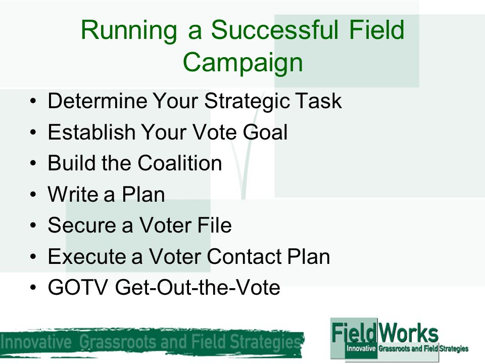 Running a Successful Field Campaign Determine Your Strategic Task Establish Your Vote Goal Build the Coalition Write a Plan Secure a Voter File Execut
