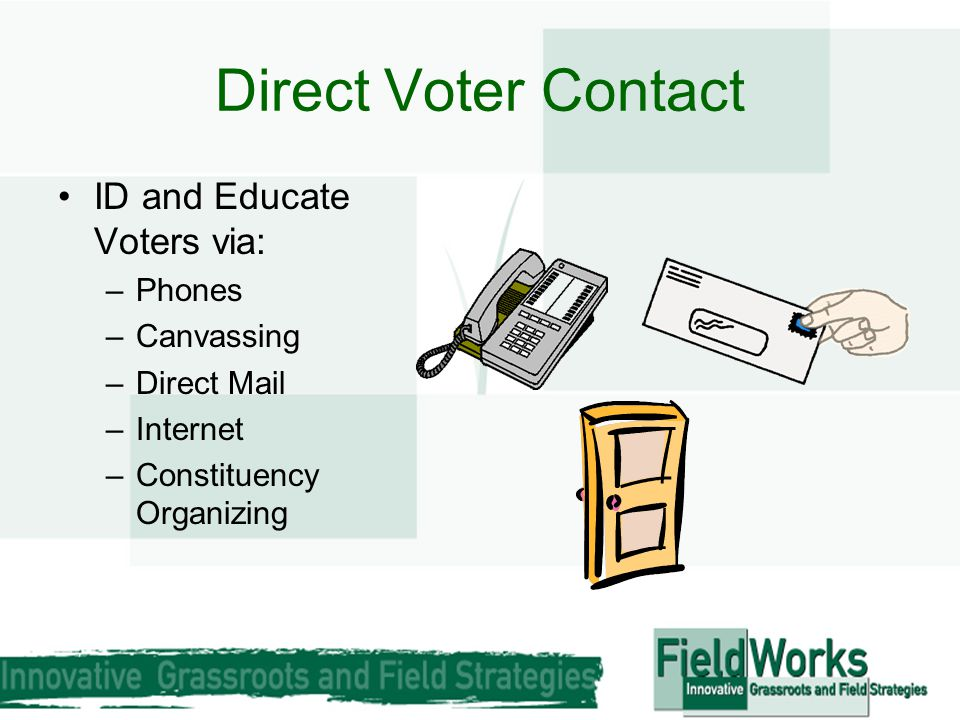 Direct Voter Contact ID and Educate Voters via: –Phones –Canvassing –Direct Mail –Internet –Constituency Organizing
