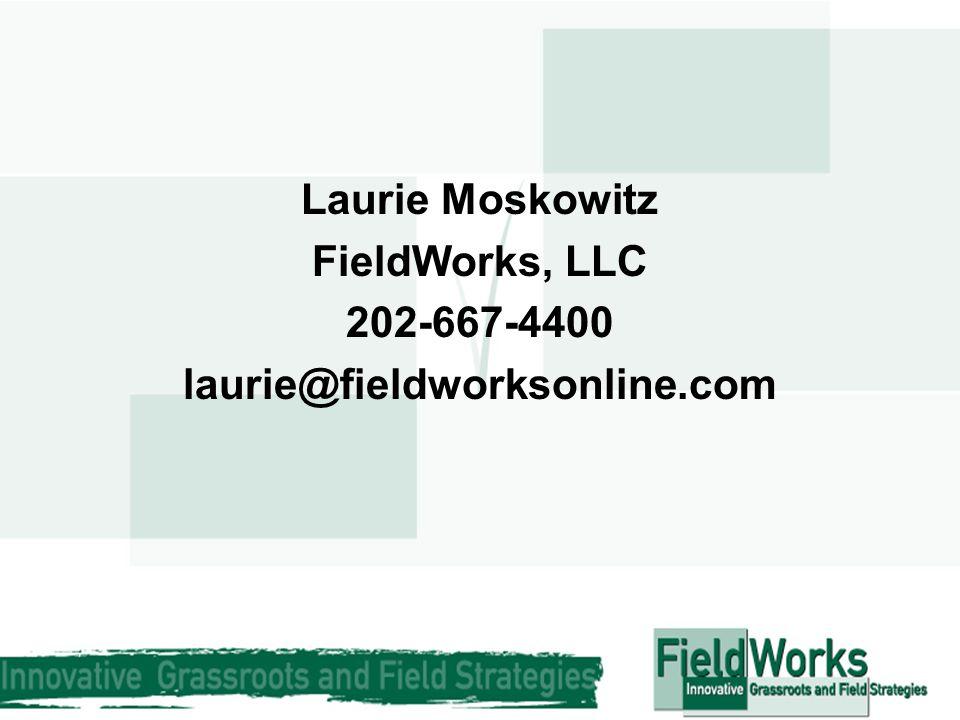 Laurie Moskowitz FieldWorks, LLC 202-667-4400 laurie@fieldworksonline.com