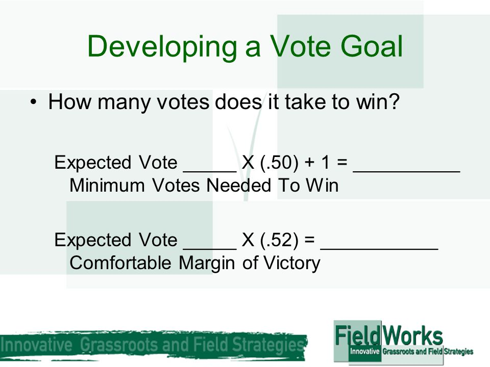 Developing a Vote Goal How many votes does it take to win? Expected Vote _____ X (.50) + 1 = __________ Minimum Votes Needed To Win Expected Vote ____