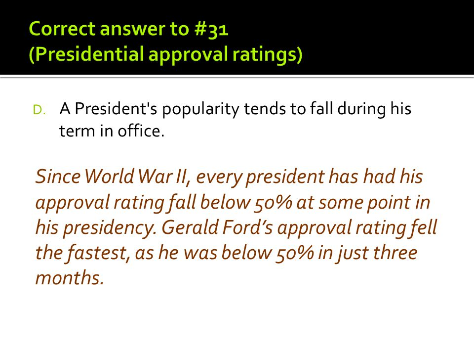 D. A President's popularity tends to fall during his term in office. Since World War II, every president has had his approval rating fall below 50% at