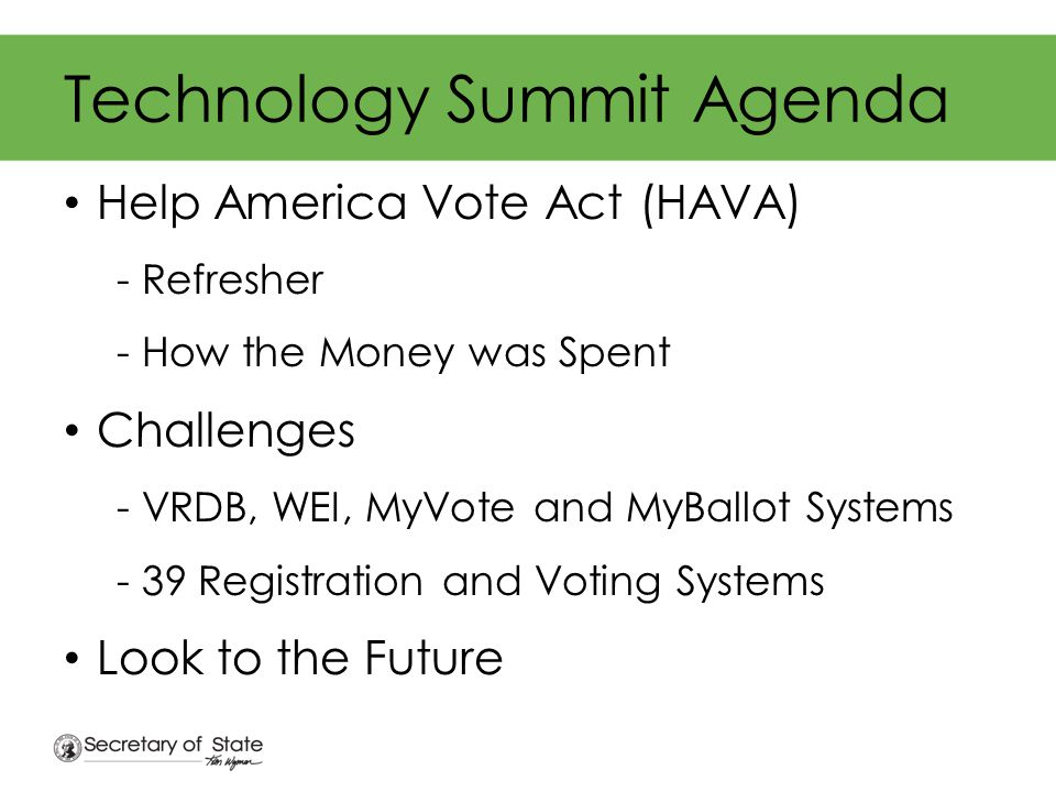 Voting Systems - Challenges Need new equipment Varying levels of commitment and customer service from vendors AVUs