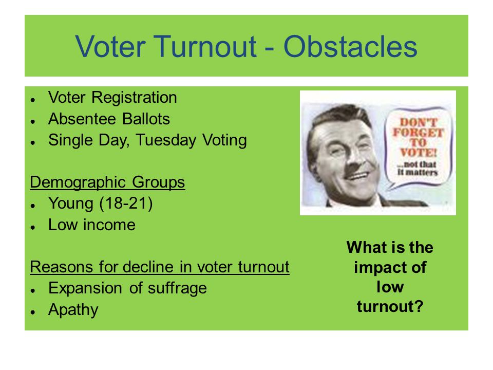 Voter Turnout - Obstacles ● Voter Registration ● Absentee Ballots ● Single Day, Tuesday Voting Demographic Groups ● Young (18-21) ● Low income Reasons for decline in voter turnout ● Expansion of suffrage ● Apathy What is the impact of low turnout
