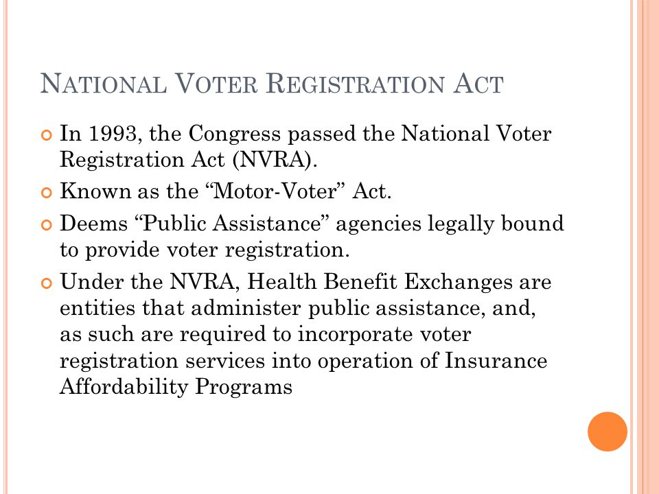N ATIONAL V OTER R EGISTRATION A CT In 1993, the Congress passed the National Voter Registration Act (NVRA).