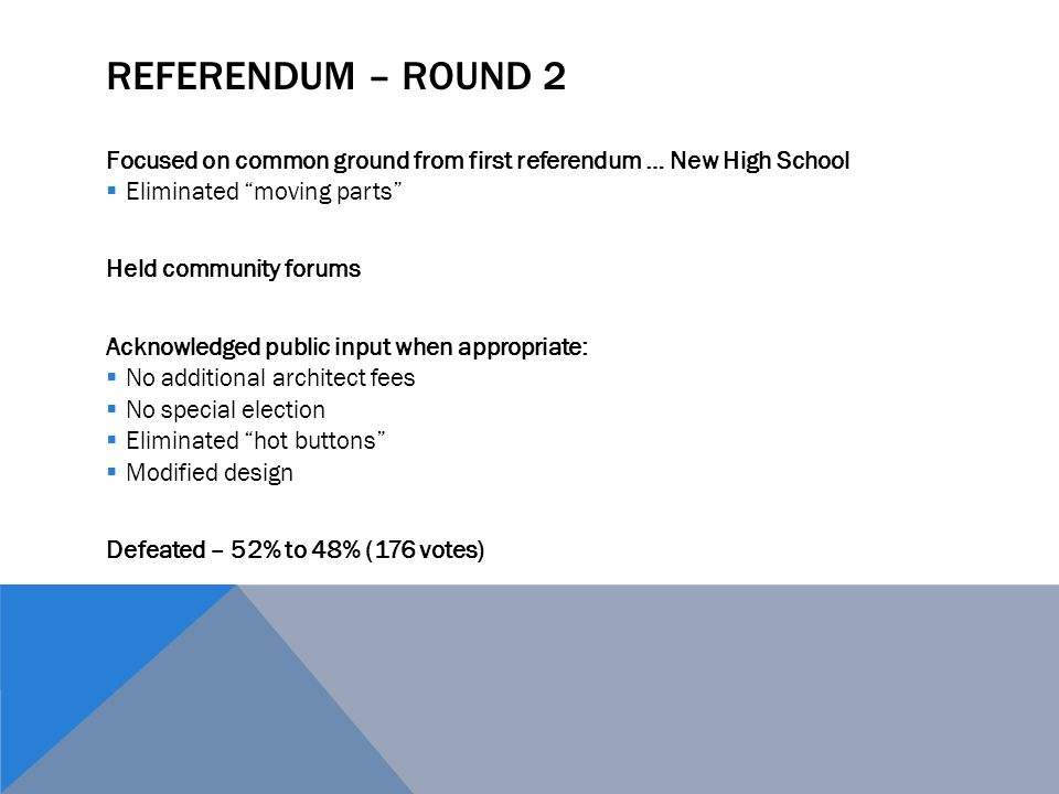 REFERENDUM – ROUND 2 Focused on common ground from first referendum … New High School  Eliminated moving parts Held community forums Acknowledged public input when appropriate:  No additional architect fees  No special election  Eliminated hot buttons  Modified design Defeated – 52% to 48% (176 votes)