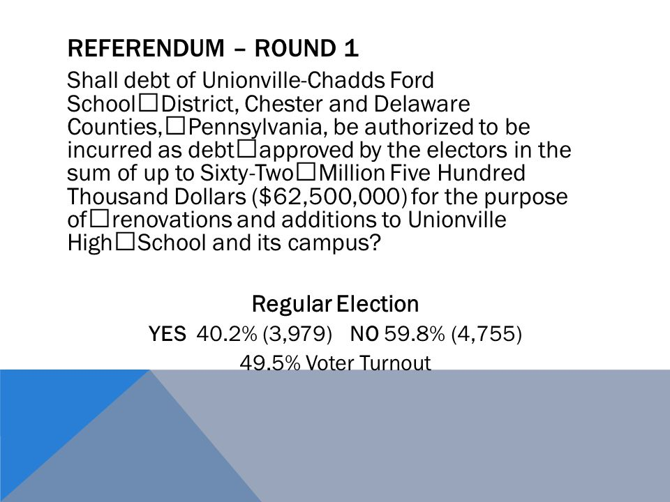 REFERENDUM – ROUND 2 Shall debt of Unionville-Chadds Ford School District, Chester and Delaware Counties, Pennsylvania, be authorized to be incurred as debt approved by the electors in the sum of up to Thirty Million Dollars ($30,000,000) for the purpose of renovations and additions to Unionville High School and its campus.