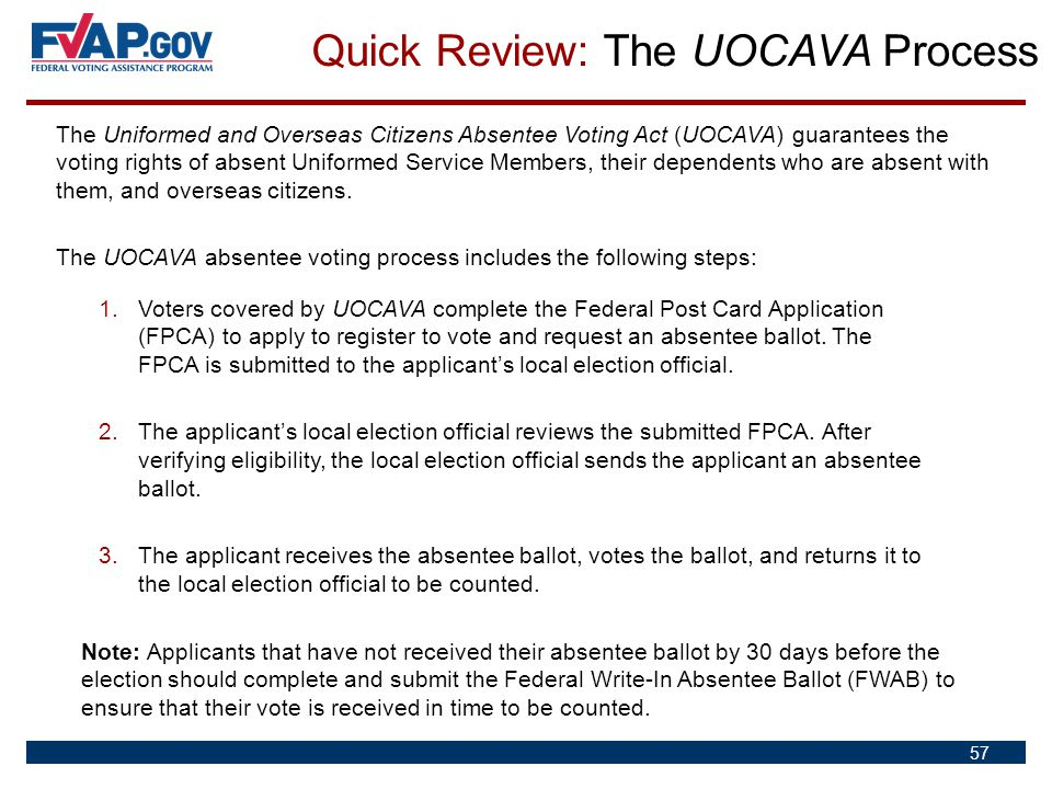 The Uniformed and Overseas Citizens Absentee Voting Act (UOCAVA) guarantees the voting rights of absent Uniformed Service Members, their dependents wh