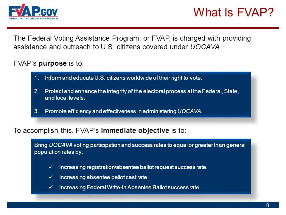 What Is FVAP? The Federal Voting Assistance Program, or FVAP, is charged with providing assistance and outreach to U.S. citizens covered under UOCAVA.