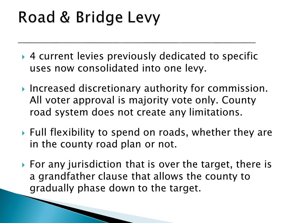  4 current levies were previously dedicated to specific capital improvement uses.