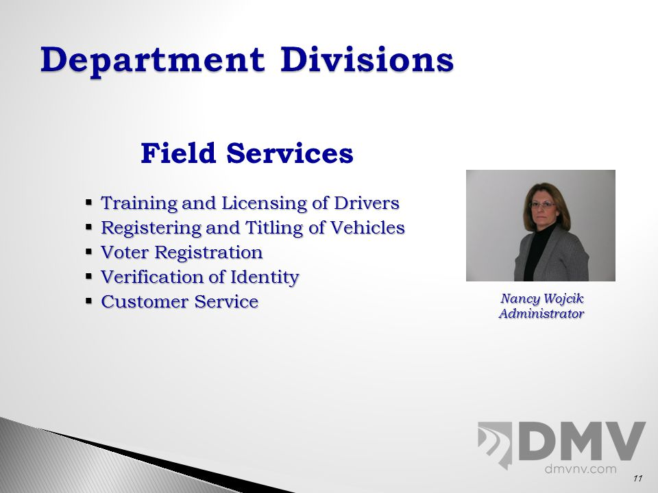 Field Services  Training and Licensing of Drivers  Registering and Titling of Vehicles  Voter Registration  Verification of Identity  Customer Service Nancy Wojcik Administrator 11