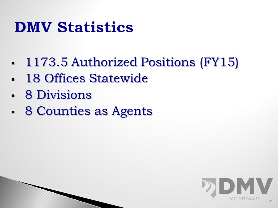  1173.5 Authorized Positions (FY15)  18 Offices Statewide  8 Divisions  8 Counties as Agents 2