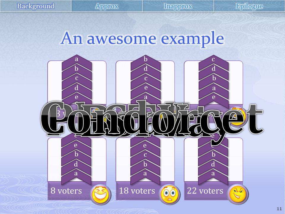 33 voters16 voters3 voters 8 voters18 voters22 voters a b c d e b d c e a c d b a e c e b d a d e c b a e c b d a 11