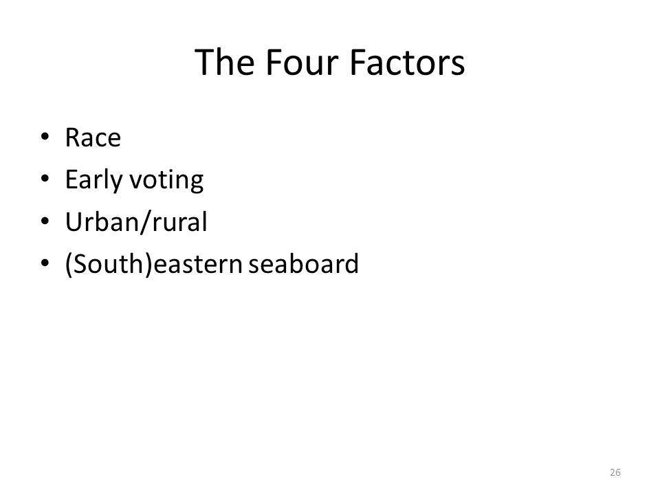 The Four Factors Race Early voting Urban/rural (South)eastern seaboard 26