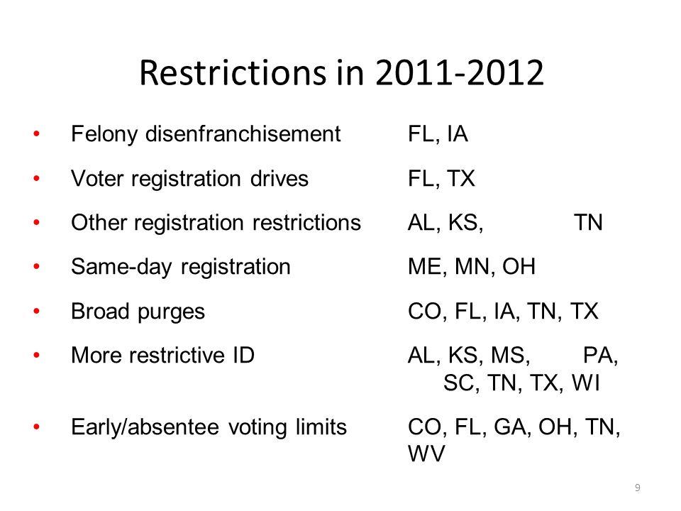 Restrictions in 2011-2012 9 Felony disenfranchisementFL, IA Voter registration drivesFL, TX Other registration restrictionsAL, KS, MI, NH, TN Same-day