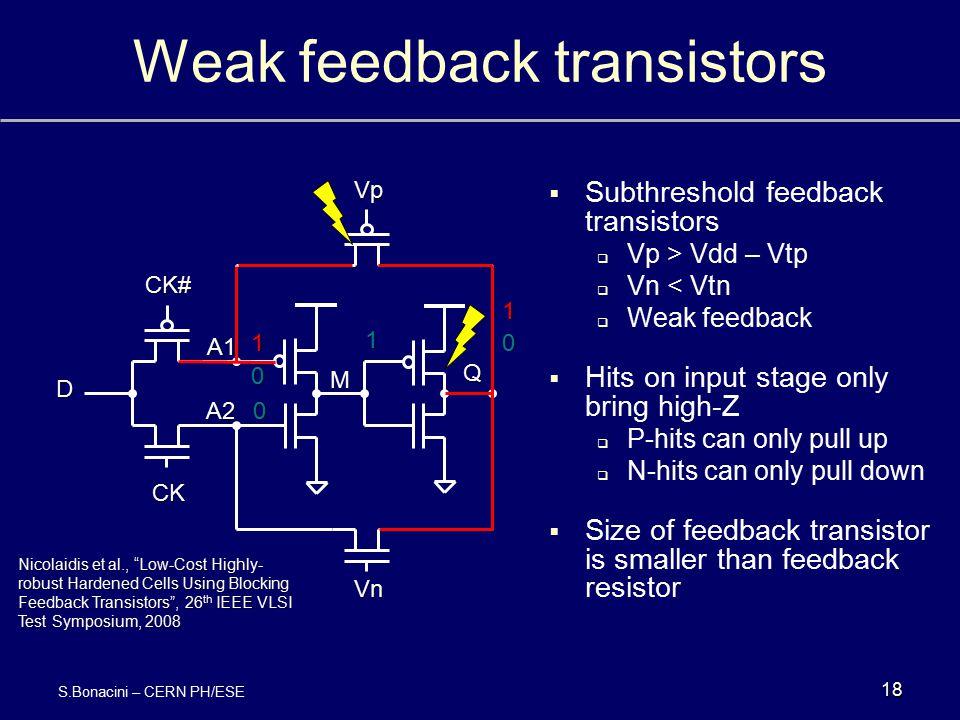 Weak feedback transistors  Subthreshold feedback transistors  Vp > Vdd – Vtp  Vn < Vtn  Weak feedback  Hits on input stage only bring high-Z  P-