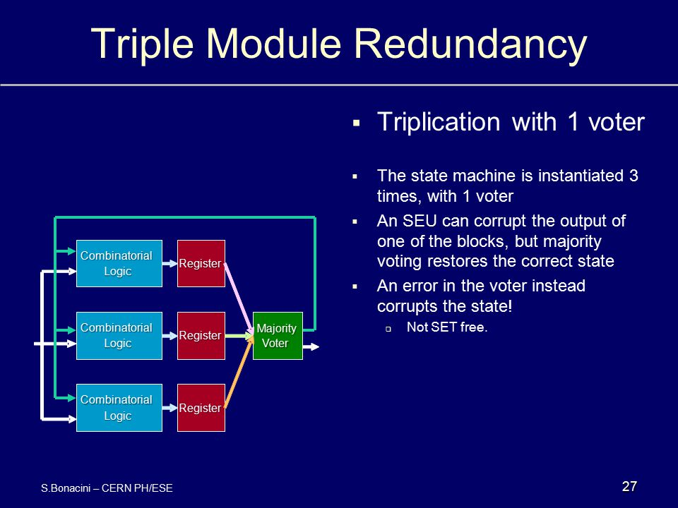 Triple Module Redundancy  Triplication with 1 voter  The state machine is instantiated 3 times, with 1 voter  An SEU can corrupt the output of one