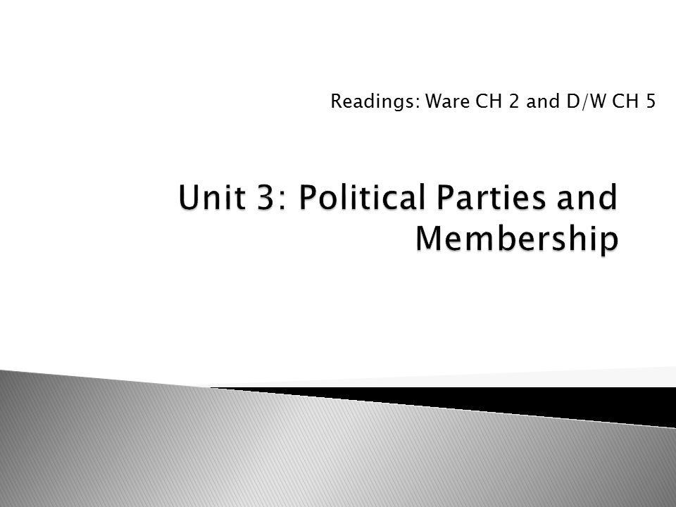  Scarrow 2000  Identifies three myths about declining membership and party organizational strength.
