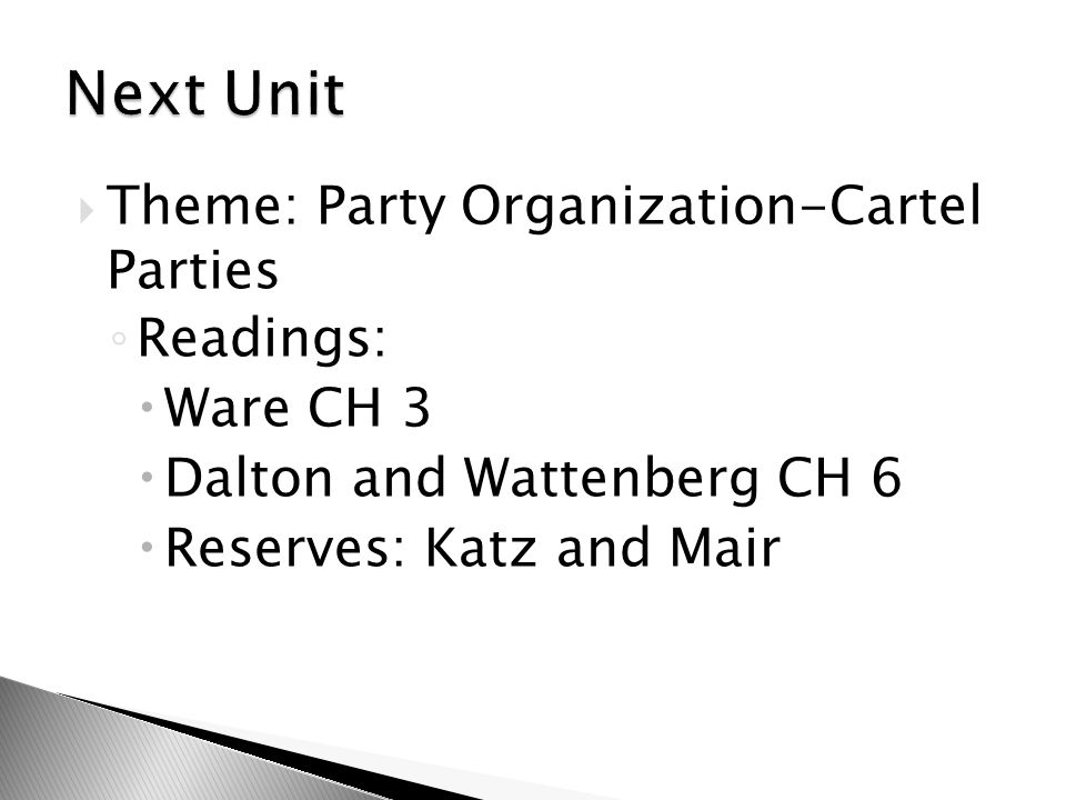  Theme: Party Organization-Cartel Parties ◦ Readings:  Ware CH 3  Dalton and Wattenberg CH 6  Reserves: Katz and Mair
