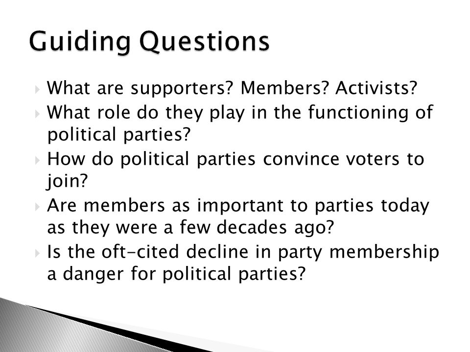  As party organizations have evolved, their reliance on supporters, members, and activists have changed.