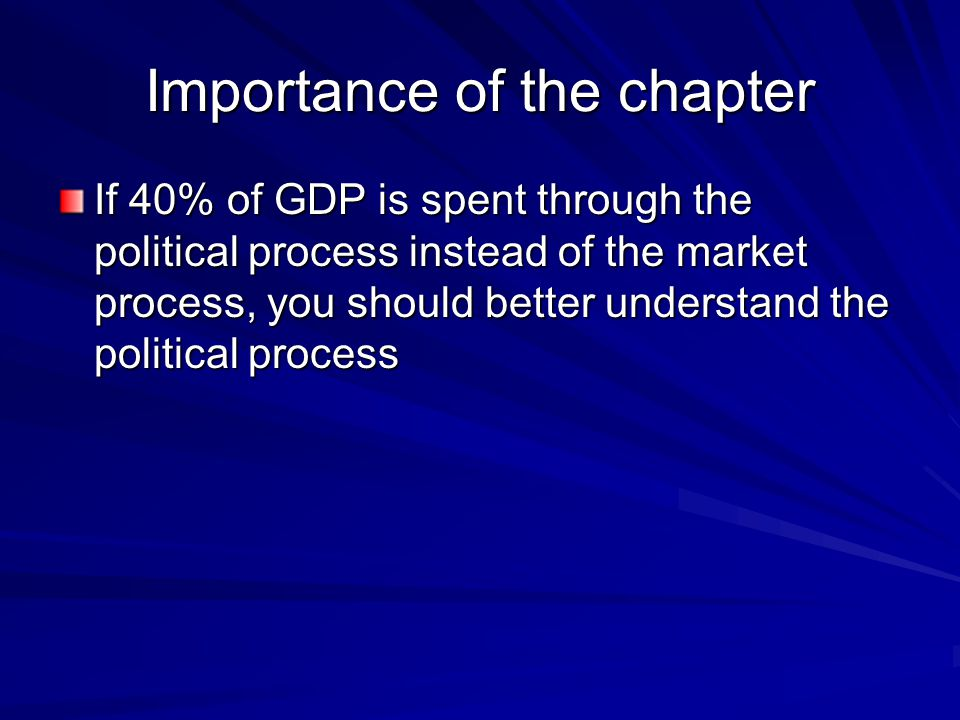 Importance of the chapter If 40% of GDP is spent through the political process instead of the market process, you should better understand the politic