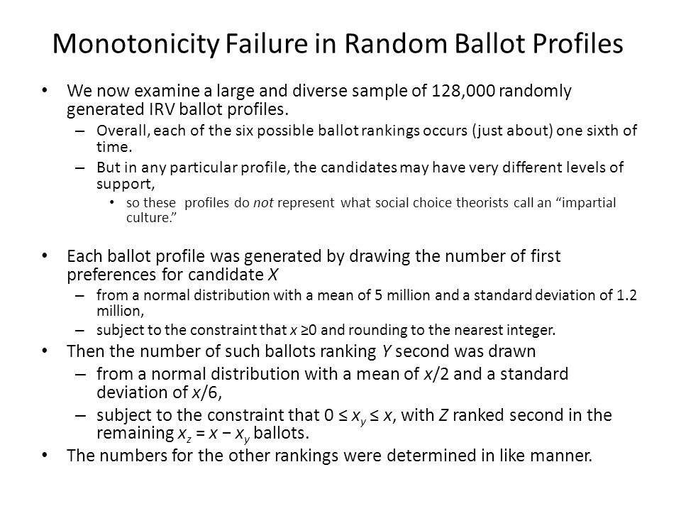 Monotonicity Failure in Random Ballot Profiles We now examine a large and diverse sample of 128,000 randomly generated IRV ballot profiles.