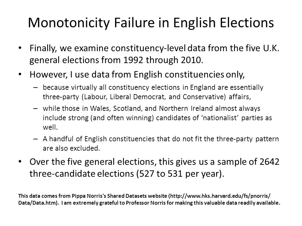 Monotonicity Failure in English Elections Finally, we examine constituency-level data from the five U.K.