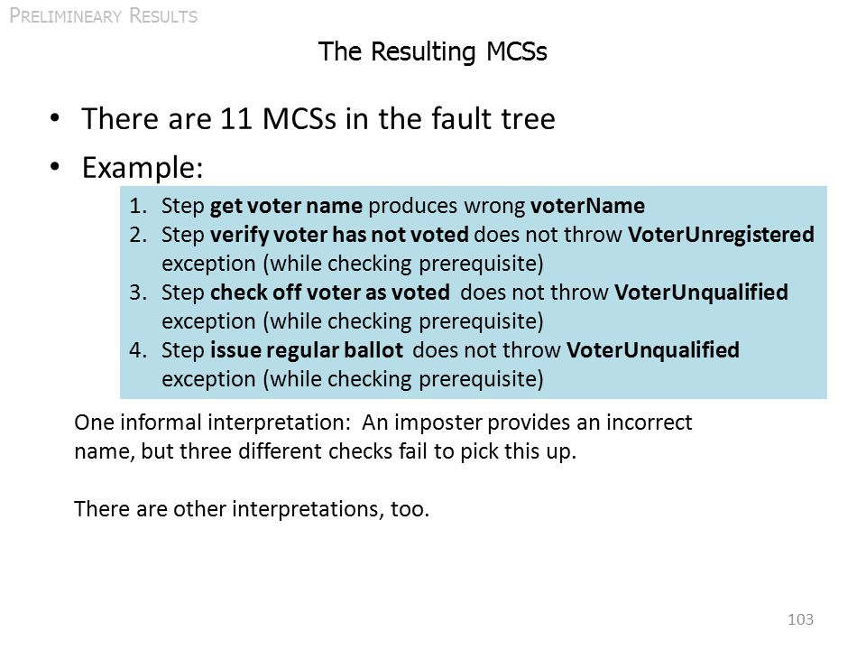 The Resulting MCSs There are 11 MCSs in the fault tree Example: 103 P RELIMINEARY R ESULTS 1.Step get voter name produces wrong voterName 2.Step verify voter has not voted does not throw VoterUnregistered exception (while checking prerequisite) 3.Step check off voter as voted does not throw VoterUnqualified exception (while checking prerequisite) 4.Step issue regular ballot does not throw VoterUnqualified exception (while checking prerequisite) One informal interpretation: An imposter provides an incorrect name, but three different checks fail to pick this up.