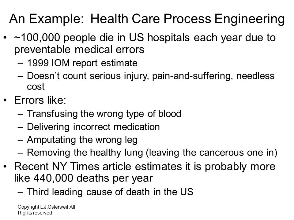 ~100,000 people each year in US hospitals due to preventable errors One fully loaded 747 per day