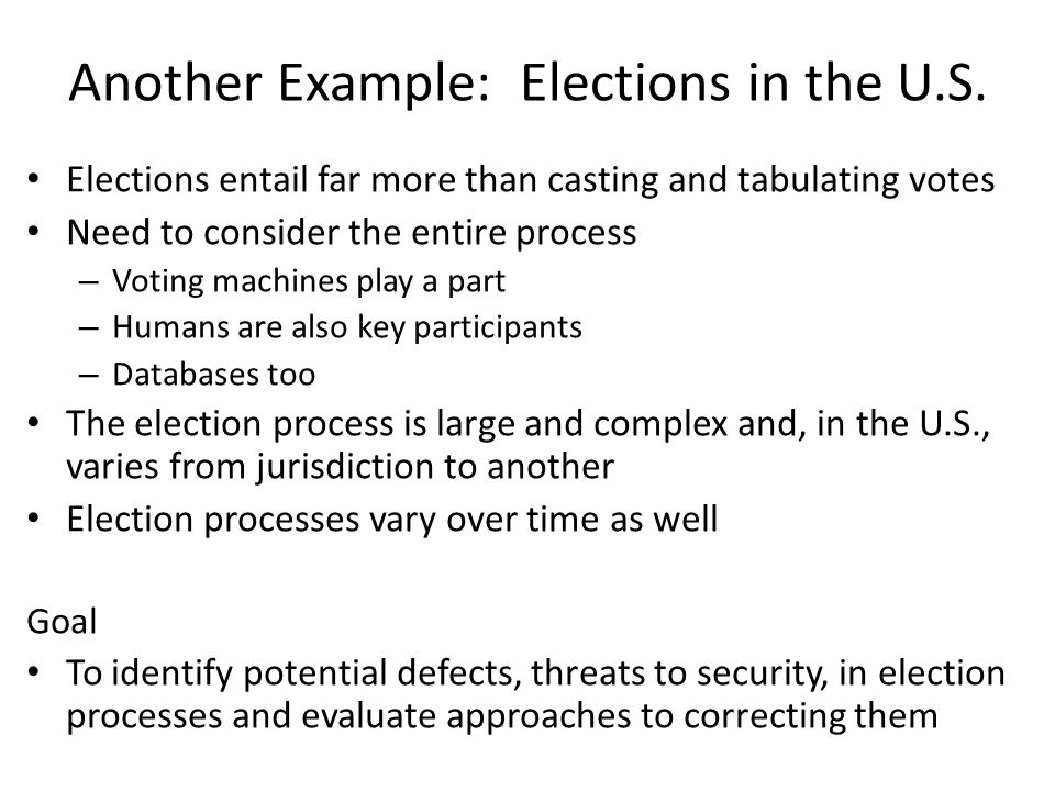 pass authentication and vote present ID Perform pre-vote authentication Check off voter as voted Issue ballot Record voter preference Let voter voter with provisional ballot = Fill out provisional ballot Submit provisional ballot And some exception management Missing ID Exception  Inadmissible ID Exception  ID Mismatch Exception   Voter Already Checked Off Exception Confirm voter ID matches voter Confirm voter ID matches voting roll Confirm voter has not voted exceptions: ID Mismatch exceptions: ID Mismatch Exceptions: Missing ID Inadmissable ID exceptions: Voter Already Checked Off