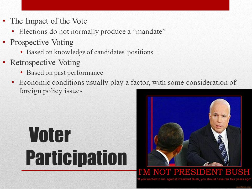 """Voter Participation The Impact of the Vote Elections do not normally produce a """"mandate"""" Prospective Voting Based on knowledge of candidates' position"""