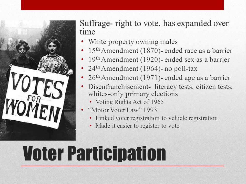 Voter Participation Suffrage- right to vote, has expanded over time White property owning males 15 th Amendment (1870)- ended race as a barrier 19 th