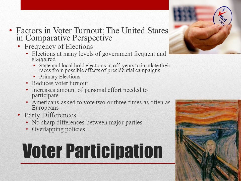 Voter Participation Factors in Voter Turnout: The United States in Comparative Perspective Frequency of Elections Elections at many levels of governme