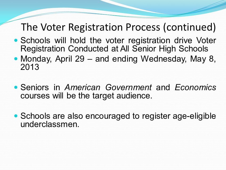 The Voter Registration Process (continued) The Voter Registration contact person is responsible for: 1.