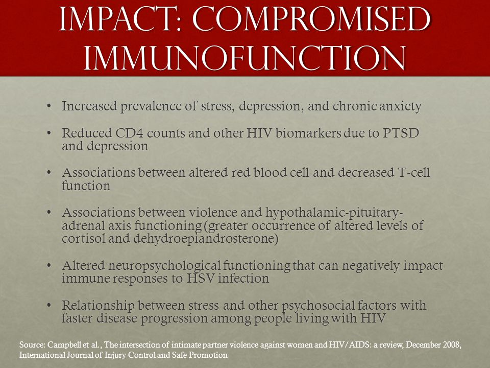 Sources Campbell et al., The intersection of intimate partner violence against women and HIV/AIDS: a review, December 2008, International Journal of Injury Control and Safe PromotionCampbell et al., The intersection of intimate partner violence against women and HIV/AIDS: a review, December 2008, International Journal of Injury Control and Safe Promotion Briefing Paper: Ending HIV-related Health Care Disparities for Women, March 2012, 30 for 30 CampaignBriefing Paper: Ending HIV-related Health Care Disparities for Women, March 2012, 30 for 30 Campaign Women and HIV Factsheet, December 2012, Kaiser Family FoundationWomen and HIV Factsheet, December 2012, Kaiser Family Foundation Violence Against Women and Trauma Factsheet, U.S.