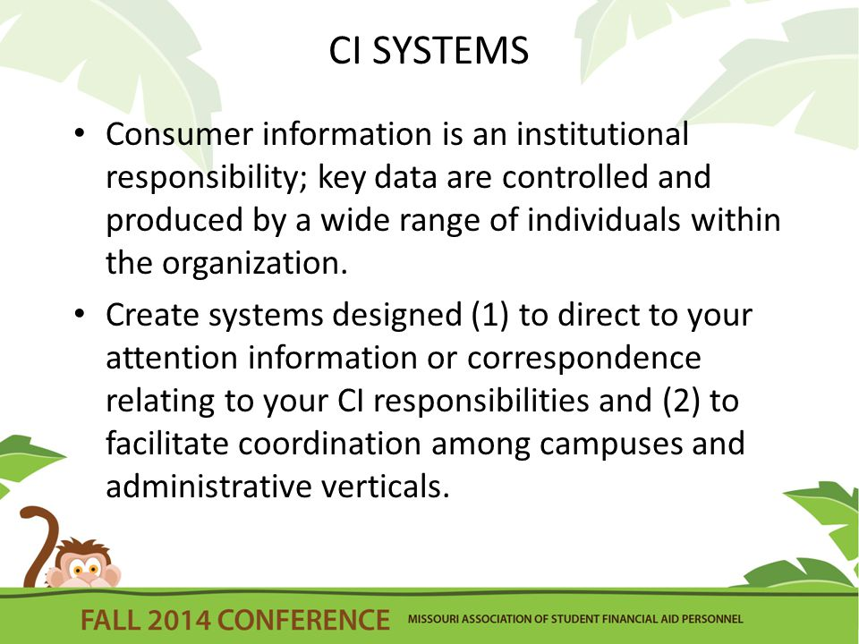 CI SYSTEMS Consumer information is an institutional responsibility; key data are controlled and produced by a wide range of individuals within the organization.