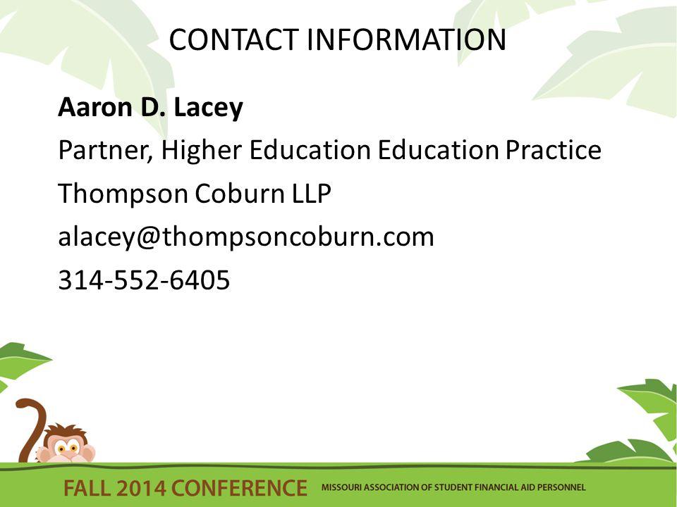 CONTACT INFORMATION Aaron D.
