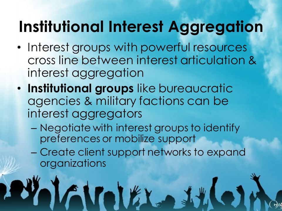 Institutional Interest Aggregation Interest groups with powerful resources cross line between interest articulation & interest aggregation Institution