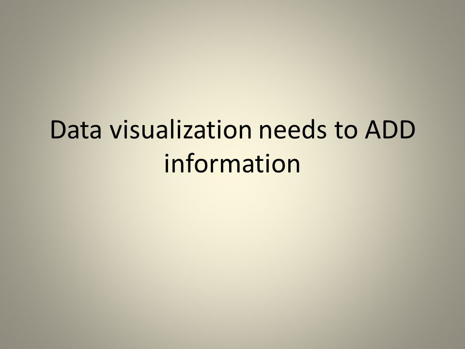 Data visualization needs to ADD information