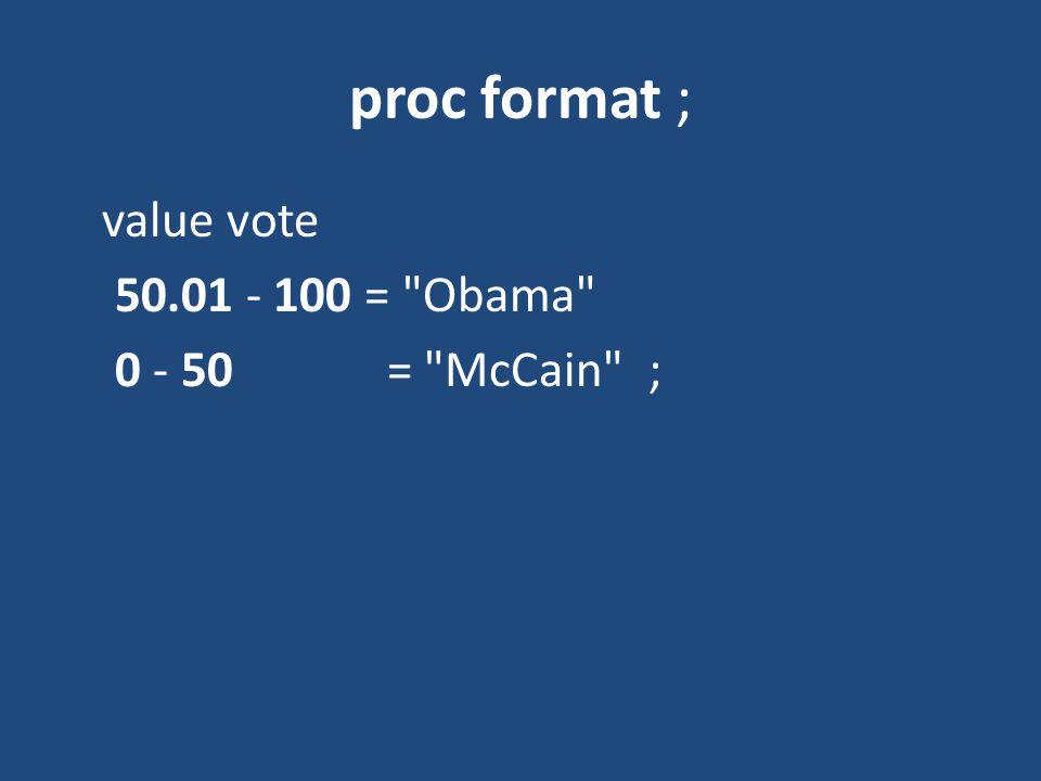 proc format ; value vote 50.01 - 100 = Obama 0 - 50 = McCain ;