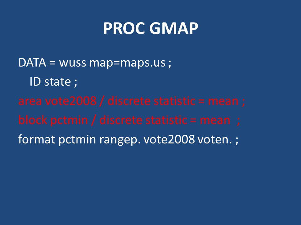 PROC GMAP DATA = wuss map=maps.us ; ID state ; area vote2008 / discrete statistic = mean ; block pctmin / discrete statistic = mean ; format pctmin rangep.