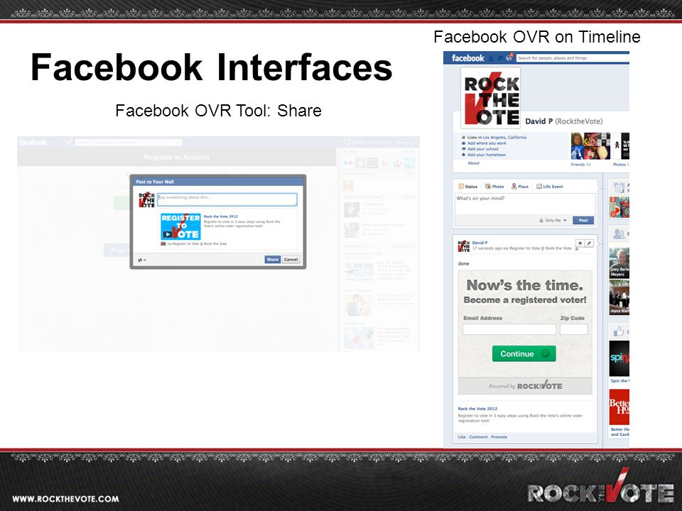Facebook OVR on Timeline Facebook OVR Tool: Share Facebook Interfaces