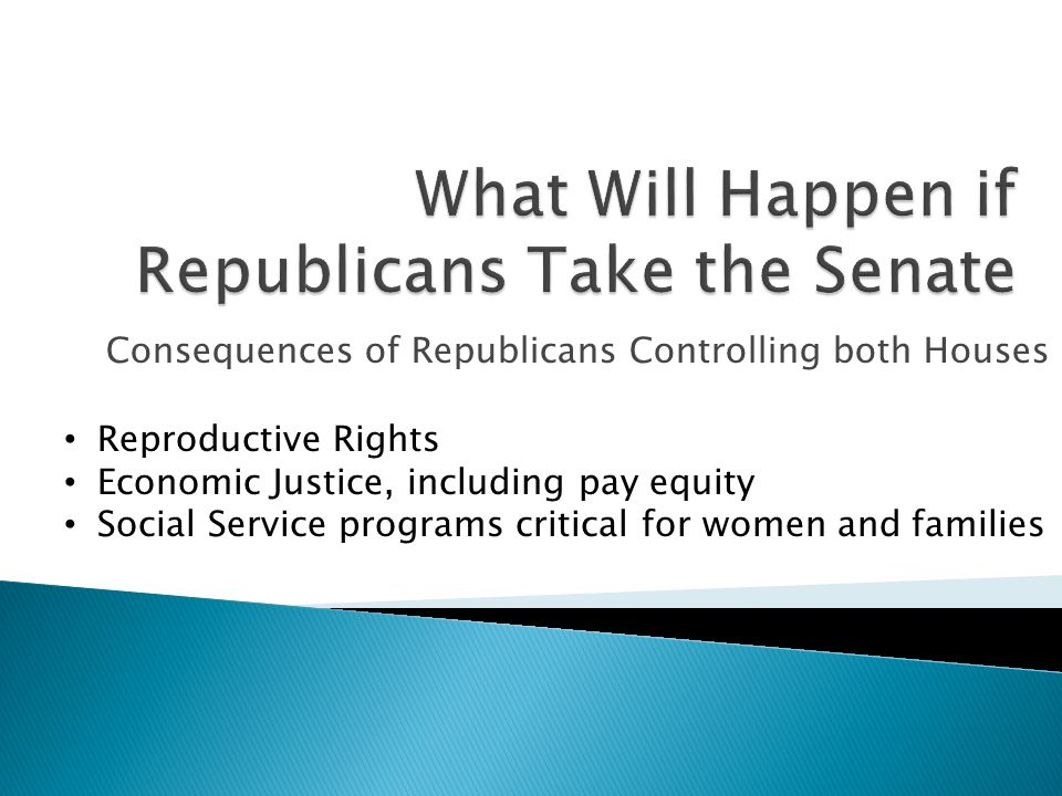 Consequences of Republicans Controlling both Houses Reproductive Rights Economic Justice, including pay equity Social Service programs critical for women and families