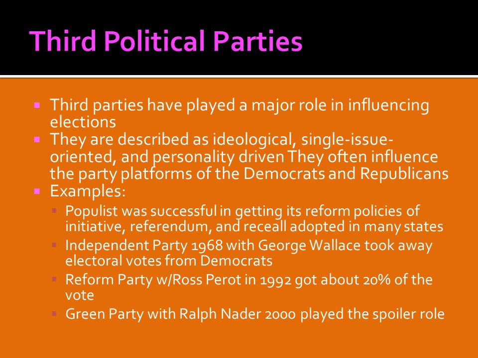  Third parties have played a major role in influencing elections  They are described as ideological, single-issue- oriented, and personality driven They often influence the party platforms of the Democrats and Republicans  Examples:  Populist was successful in getting its reform policies of initiative, referendum, and receall adopted in many states  Independent Party 1968 with George Wallace took away electoral votes from Democrats  Reform Party w/Ross Perot in 1992 got about 20% of the vote  Green Party with Ralph Nader 2000 played the spoiler role