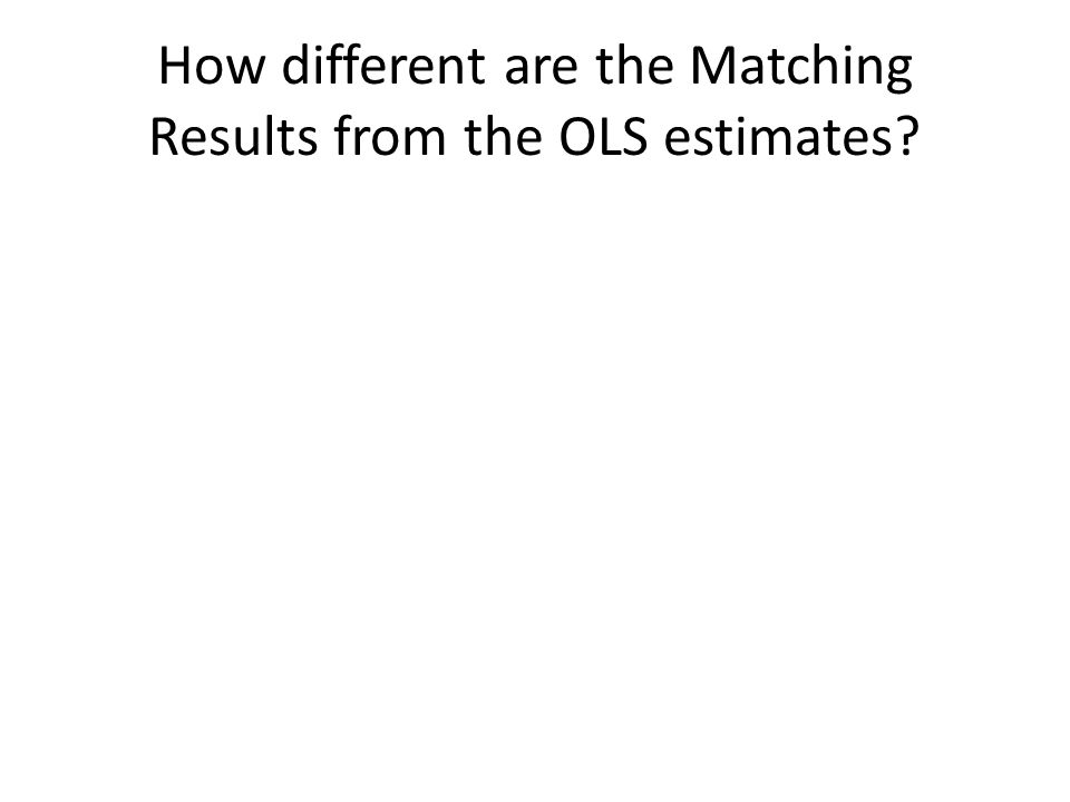 How different are the Matching Results from the OLS estimates?