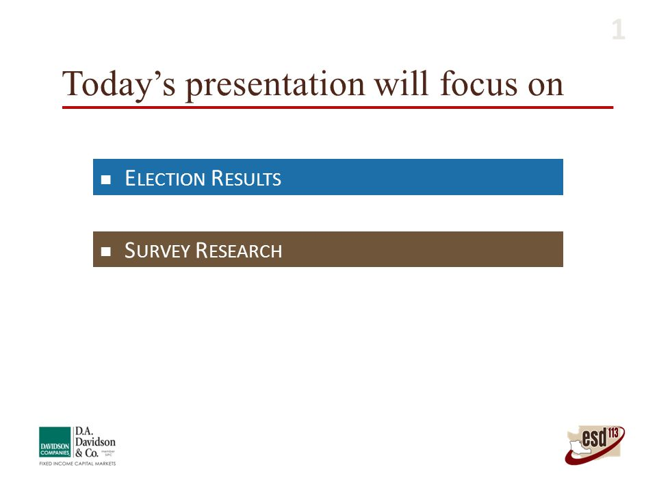 Today's presentation will focus on E LECTION R ESULTS S URVEY R ESEARCH 1