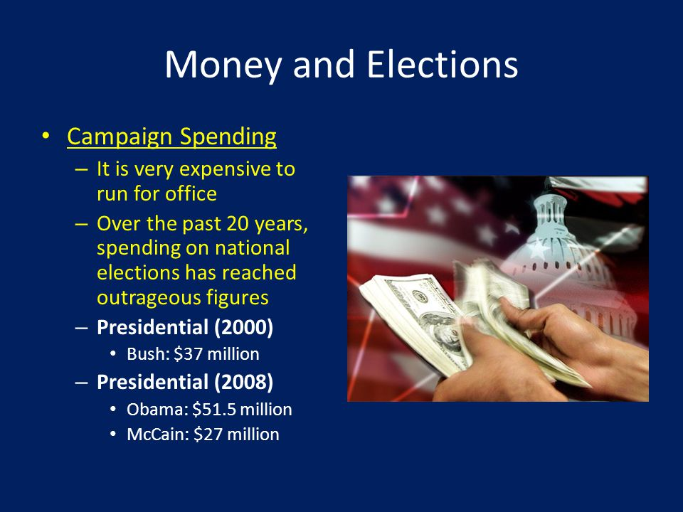Money and Elections Campaign Spending – It is very expensive to run for office – Over the past 20 years, spending on national elections has reached outrageous figures – Presidential (2000) Bush: $37 million – Presidential (2008) Obama: $51.5 million McCain: $27 million
